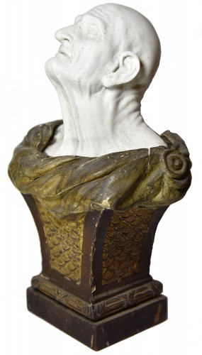 Porcelain & Faience  - Biscuit bust of the pseudo-Seneca after Guido Reni, end XVIII th c.