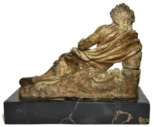 Sculpture  - Figure of Saint Roch lying with his dog in terracotta, eighteenth century