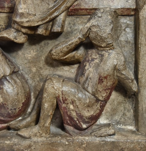 Fragment of a limestone altarpiece representing the Resurrection around 130 -