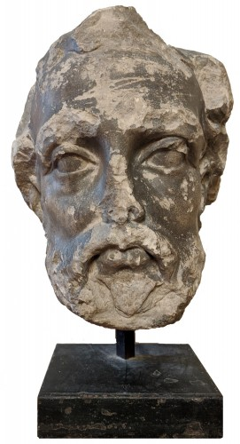 Large head of a bearded man, French school of the seventeenth century