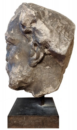 Large head of a bearded man, French school of the seventeenth century - Sculpture Style Louis XIV