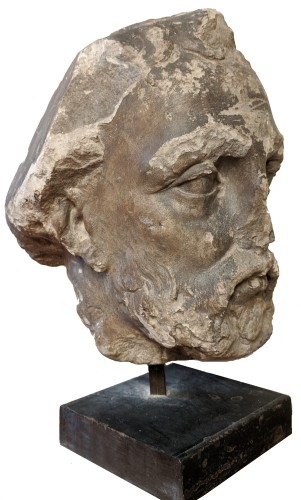 Large head of a bearded man, French school of the seventeenth century -