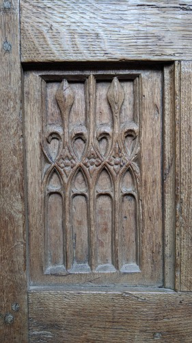Oak chest panel - end of the 15th century - Architectural & Garden Style Middle age