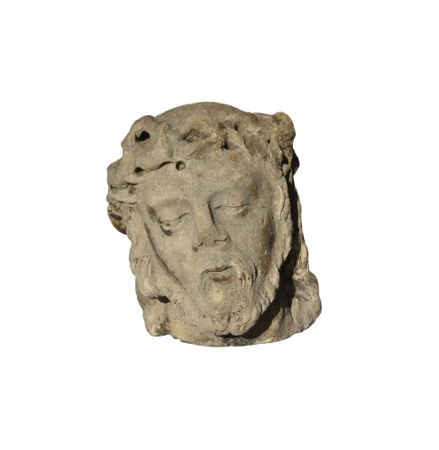 Head of Christ in limestone, Lorraine or Champagne, circa 1500