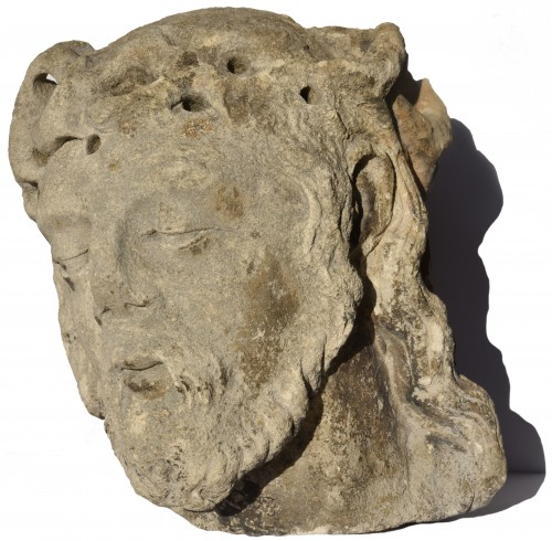 Head of Christ in limestone, Lorraine or Champagne, circa 1500 - Sculpture Style Renaissance