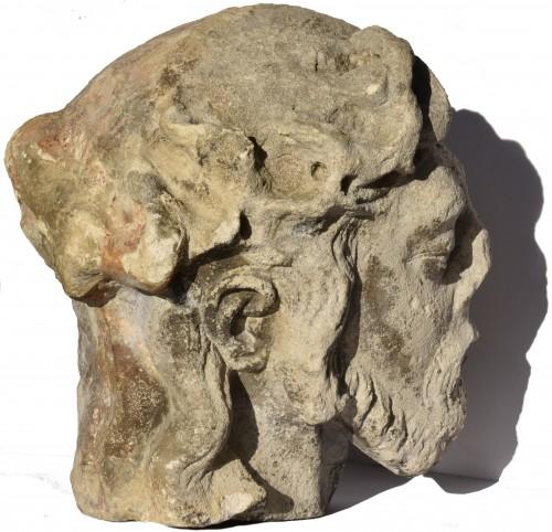 Sculpture  - Head of Christ in limestone, Lorraine or Champagne, circa 1500