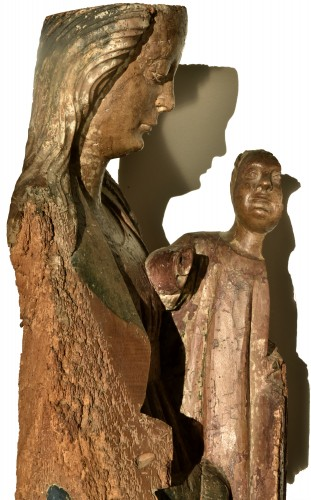Madonna and Child in walnut from the second half of the 15th century - Sculpture Style Middle age