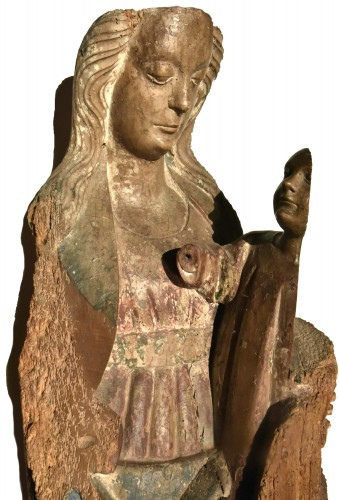 Sculpture  - Madonna and Child in walnut from the second half of the 15th century