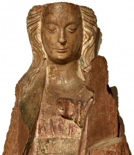 Antiquités - Madonna and Child in walnut from the second half of the 15th century