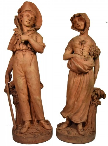 Couple of peasants - original terracottas by Louis Delaville, 1805