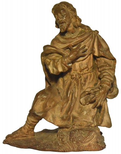 Terracotta figure of a shepherd, Italian school of the 18th century