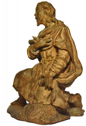 Terracotta figure of a shepherd, Italian school of the 18th century - Sculpture Style Louis XV