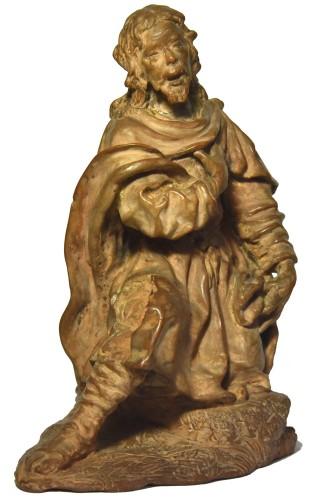 Terracotta figure of a shepherd, Italian school of the 18th century - Louis XV