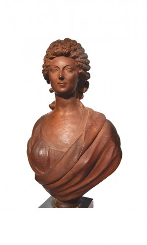 Terracotta bust of a woman of the revolutionary by Martin De Grenoble, 1791