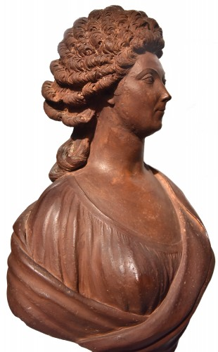 Terracotta bust of a woman of the revolutionary by Martin De Grenoble, 1791 - Sculpture Style Directoire
