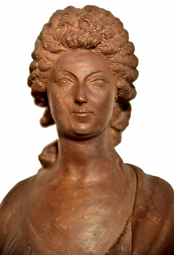 Terracotta bust of a woman of the revolutionary by Martin De Grenoble, 1791 - Directoire