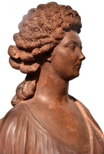Directoire - Terracotta bust of a woman of the revolutionary by Martin De Grenoble, 1791