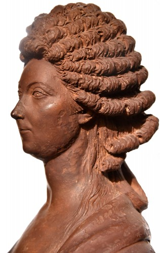 Antiquités - Terracotta bust of a woman of the revolutionary by Martin De Grenoble, 1791