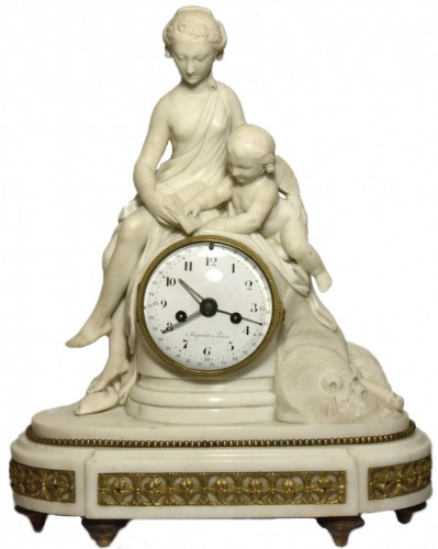 Louis XVI - Marble mantelclock attributed to Ignace or Joseph Broche circa 1780-1790