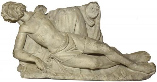 Limestone Christ figure from a pieta group - Loire Valley circa 1500