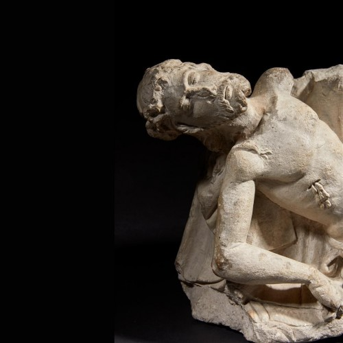 Sculpture  - Limestone Christ figure from a pieta group - Loire Valley circa 1500