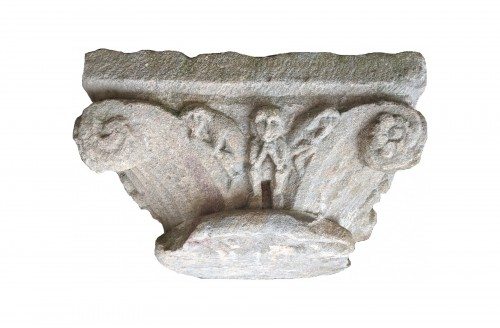 Sandstone Capital With Plants And Animals Decoration Around 1200