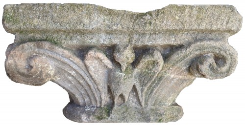 Sculpture  - Sandstone Capital With Plants And Animals Decoration Around 1200