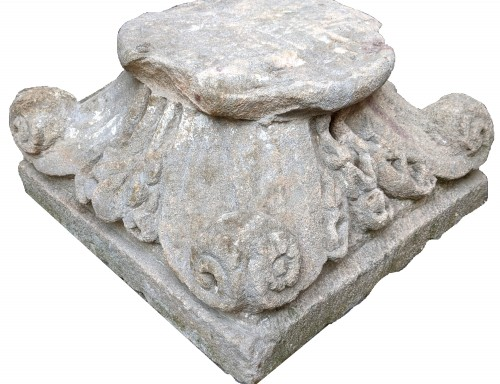 11th to 15th century - Sandstone Capital With Plants And Animals Decoration Around 1200