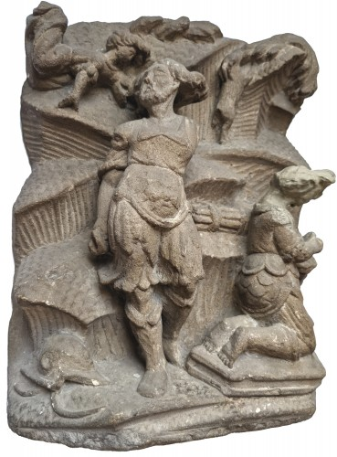 Sculpture  -  Relief representing the sacrifice of Isaac by Abraham, 16th century