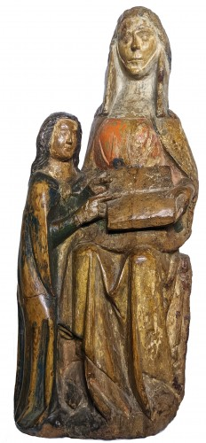 Saint Anna teaching the Virgin, polychrome wood statue circa 1400-1450