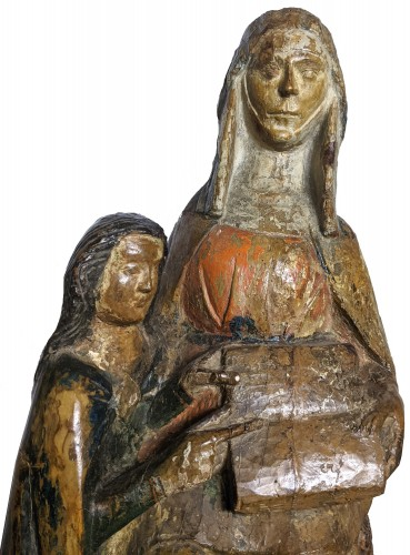 Sculpture  - Saint Anna teaching the Virgin, polychrome wood statue circa 1400-1450