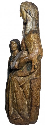 11th to 15th century - Saint Anna teaching the Virgin, polychrome wood statue circa 1400-1450