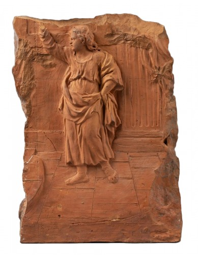 Preparatory terracotta relief representing a child preaching, early 18th ce