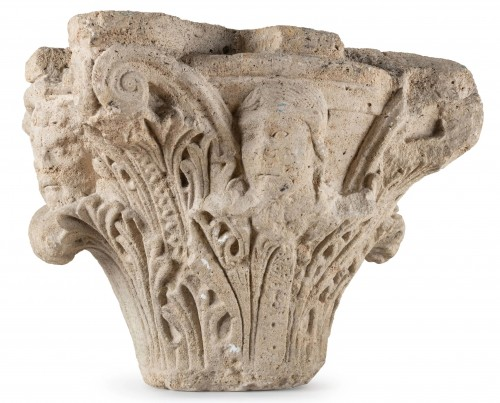 Romanesque-Gothic capital circa 1150-1160