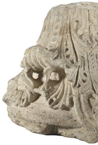 Romanesque-Gothic capital circa 1150-1160 - Sculpture Style Middle age