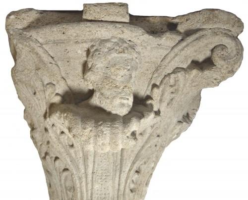 Sculpture  - Romanesque-Gothic capital circa 1150-1160