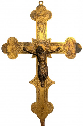 Tuscan processional cross in copper and gilded bronze - 14th century