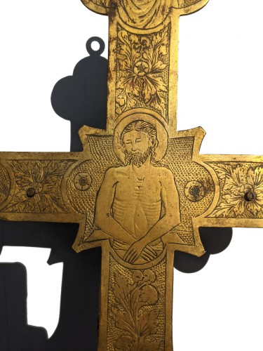 11th to 15th century - Tuscan processional cross in copper and gilded bronze - 14th century