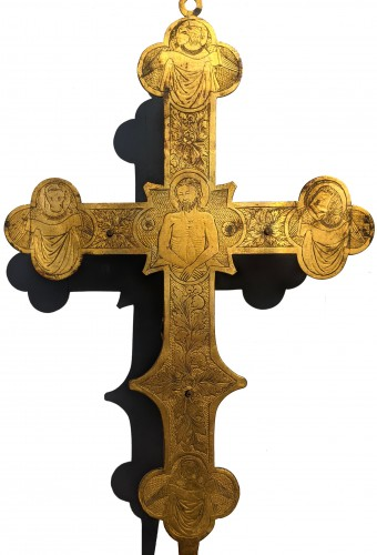 Tuscan processional cross in copper and gilded bronze - 14th century - Middle age