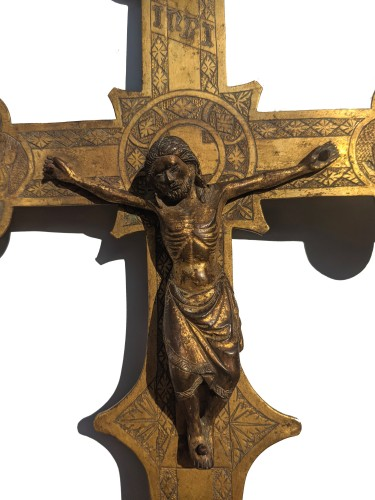 Middle age - Tuscan processional cross in copper and gilded bronze - 14th century