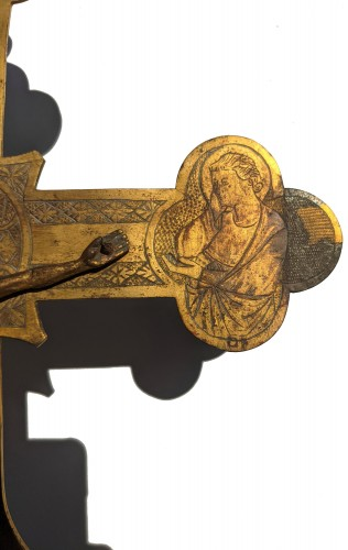 Antiquités - Tuscan processional cross in copper and gilded bronze - 14th century