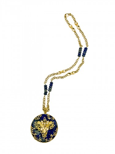 long gold and lapis lazuli necklace