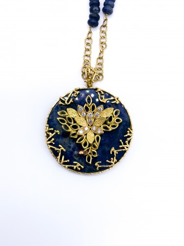long gold and lapis lazuli necklace - Antique Jewellery Style