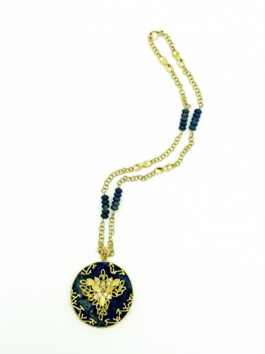 Antique Jewellery  - long gold and lapis lazuli necklace