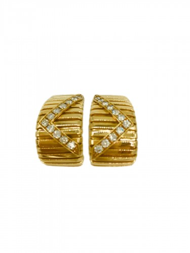 Gold and diamond earrings by BULGARI