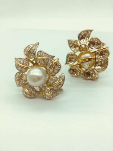 Earrings gold diamonds and pearl . - Antique Jewellery Style