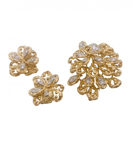 VAN CLEEF : set brooch and ear clips