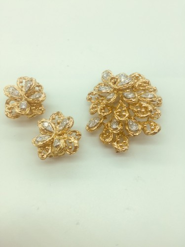 20th century - Van Cleef  -Set brooch and ear clips
