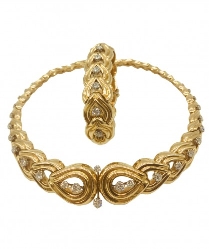Gorgeous set, gold and diamonds necklace and bracelet 1950 ' s