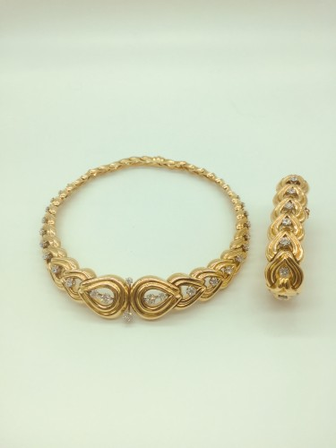 Gorgeous set, gold and diamonds necklace and bracelet 1950 ' s - 50